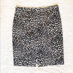 J. Crew The Pencil Skirt Leopard Animal Print SZ6